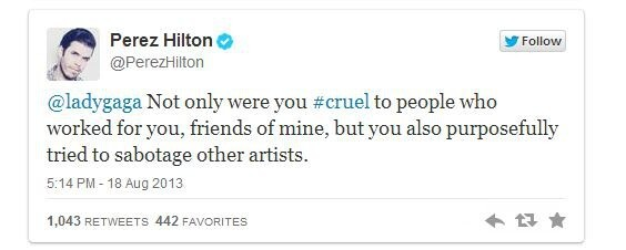 Lady Gaga Accuses Perez Hilton of Stalking Her, Perez Responds