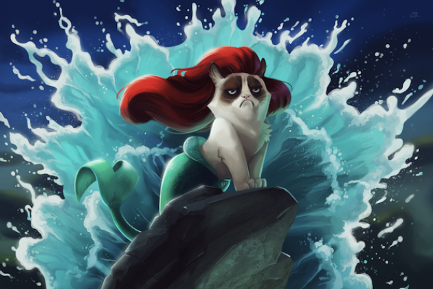 Grumpy Cat Meets Disney In Hilariously Depressing Art