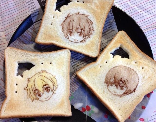 Edible Portraits of Anime Characters Drawn on Toast