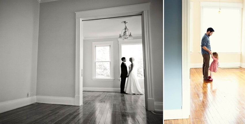 A man re-created his wedding photos with their young daughter