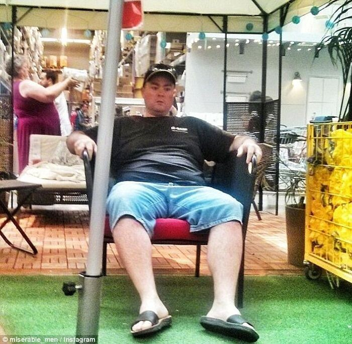 Photos of tired men in shopping centers