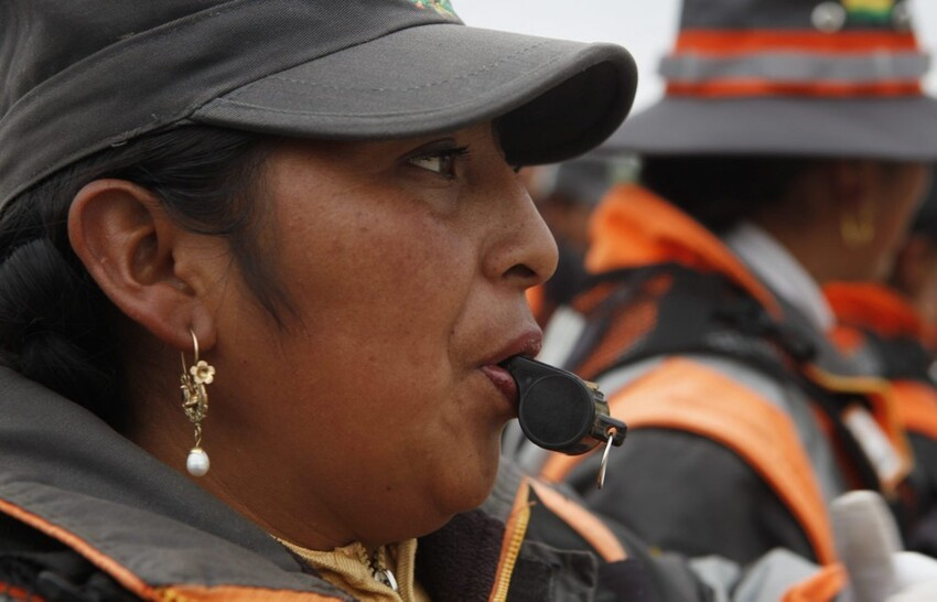 Bolivian women as traffic cops