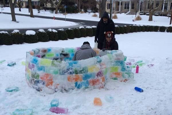Creative colorful igloo on the backyard
