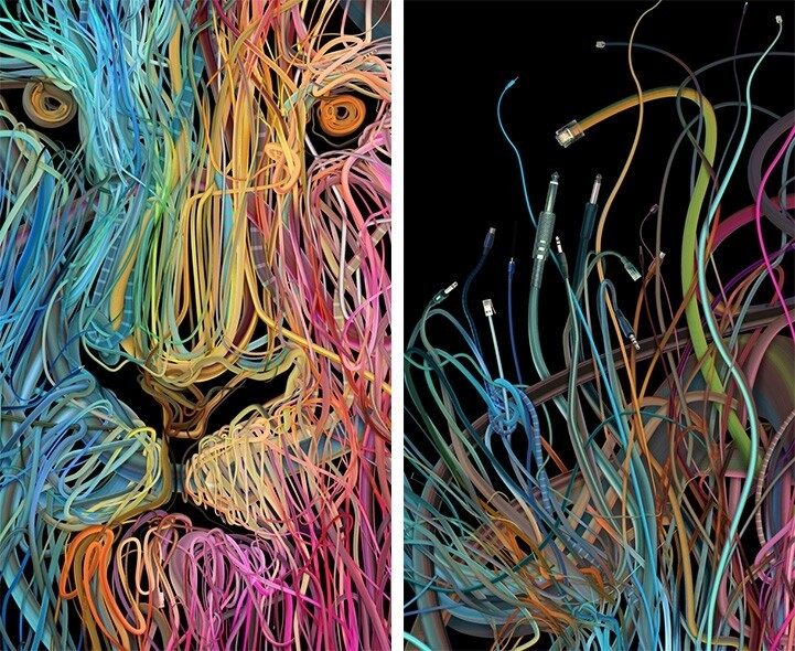 Complex Illustrations Formed with Tangles of Colorful Wires