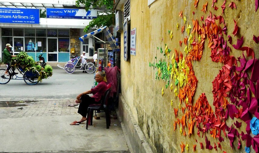 She Makes Beautiful Street Art From Thousands Of Origami Creations