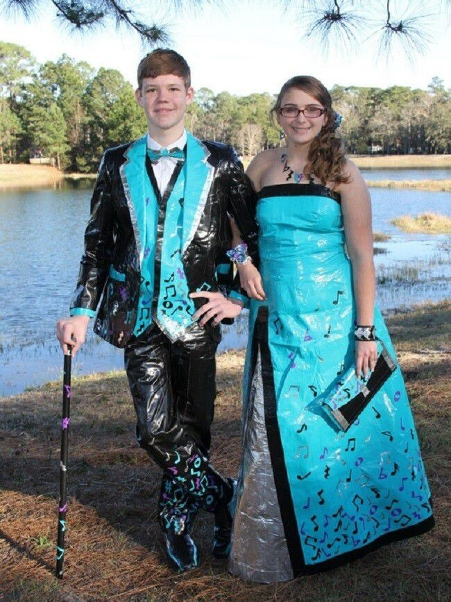 14 Outrageous Prom Outfits Made Completely Out Of Duct Tape