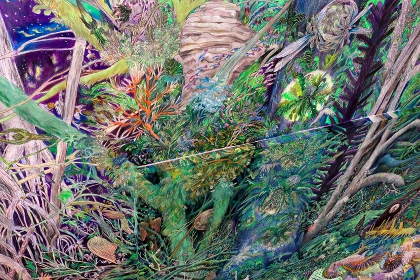 These Elaborate Paintings Spill Off The Canvas Bursting With Color