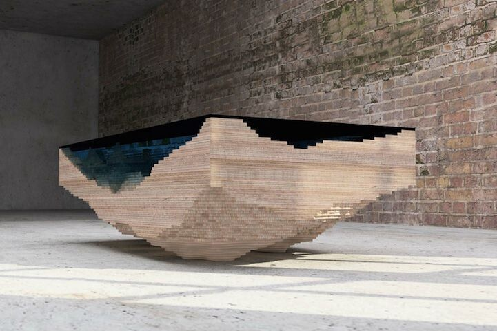 Stunning Table Layers Wood and Glass to Form Dramatic Ocean Depths