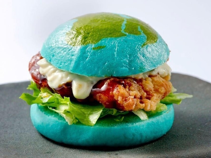 "Japan's Edible ""Blue Burger"" Dares You To Eat The Earth"