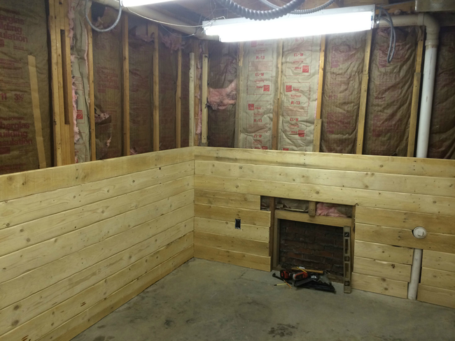 How To Turn Your Basement Into A Log Cabin-esque Man Cave For $107