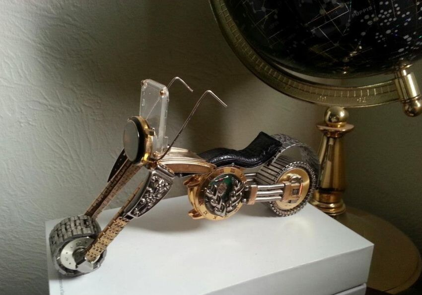 Guitars, Motorcycles, And Insects Are Made With Old Watch Parts