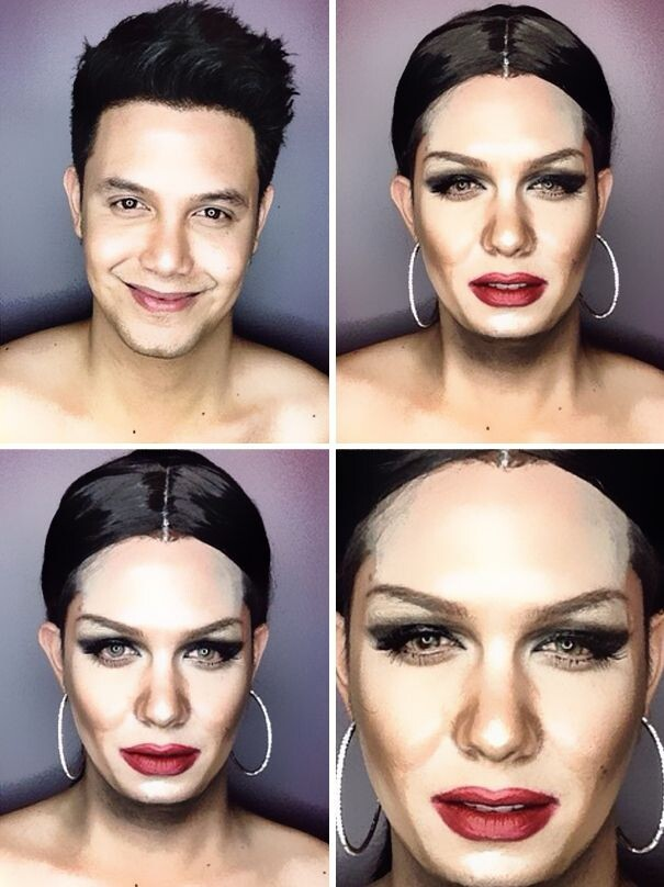 Guy Uses Makeup To Transform Himself Into Female Hollywood Celebrities