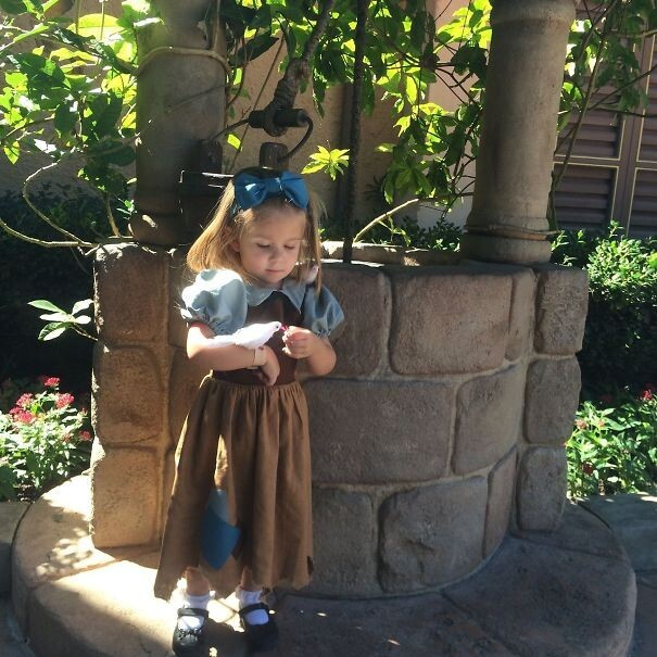 Mom sews Disney costumes for her daughter