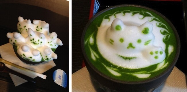 Japanese Cafe Turns An Ordinary Cup Of Green Tea Into 3D Latte Art