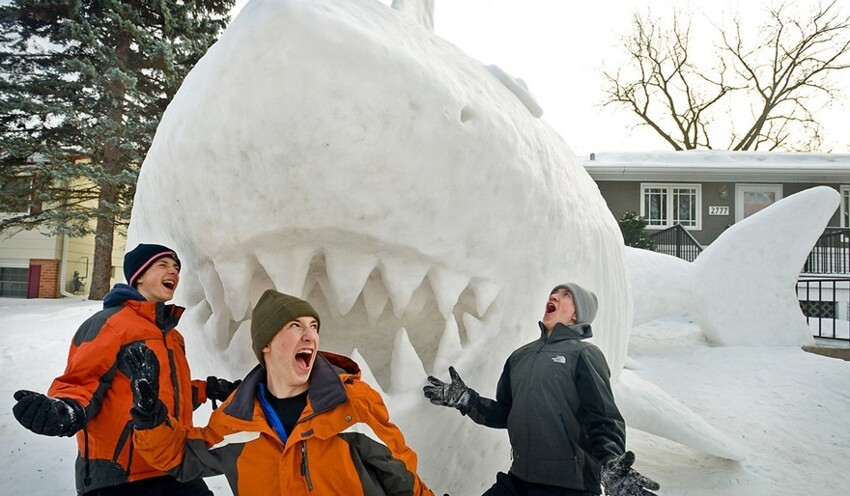 Every Year, These 3 Brothers Make A Giant Snow Sculpture