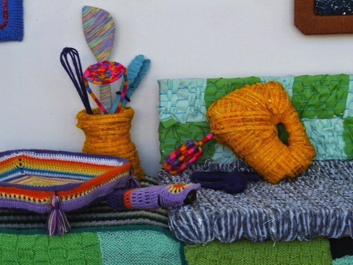 This Eclectic Kitchen is Completely Knitted and Crocheted Out of Yarn