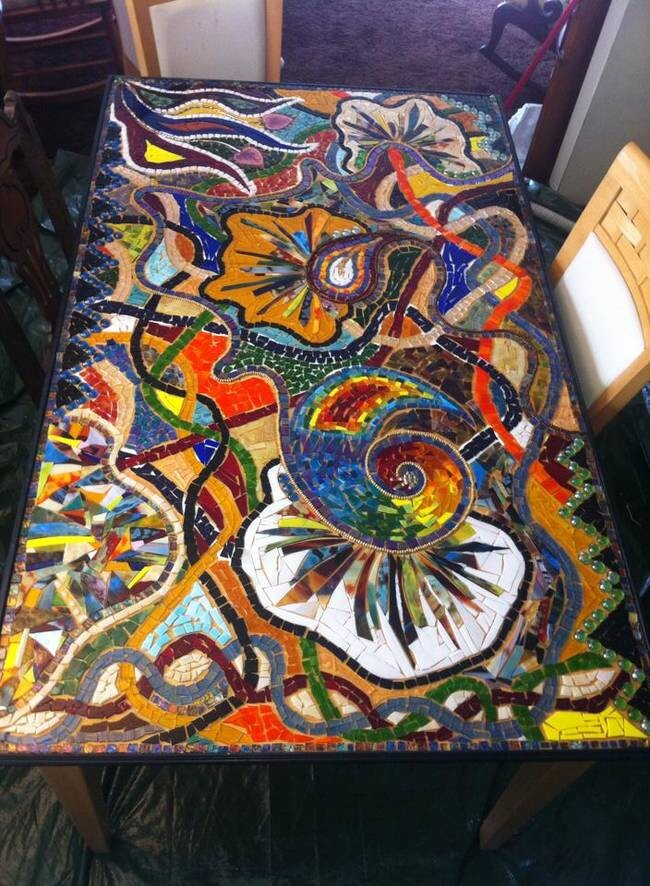 This Woman Turned A Regular Old Table Into An Incredible Glass Mosaic