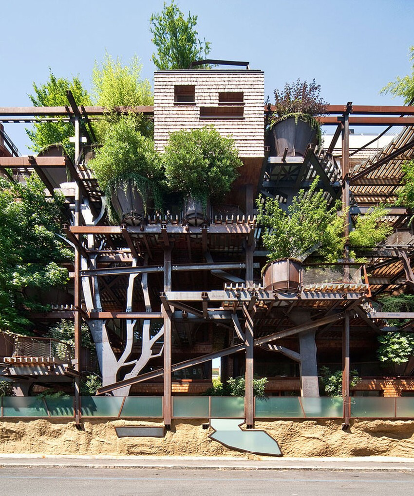 Urban Treehouse Uses 150 Trees To Protect Residents From Noise