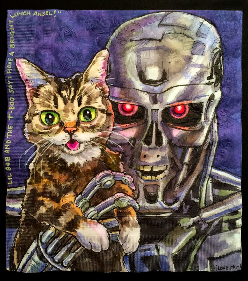 I Draw Famous Robots With Celebrity Cats On My Sons' Lunchbox Napkins