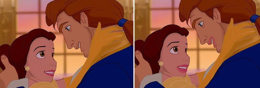 Belle's magenta lip gloss would have smeared everywhere after making out with the Beast.