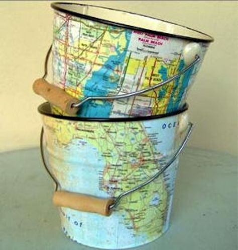 Decoupage cute buckets with maps.