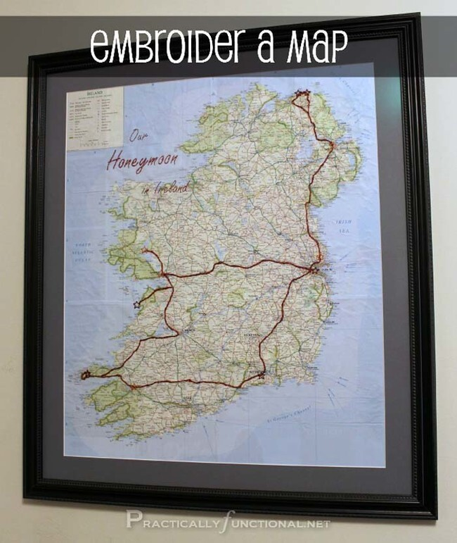 Embroider a map with the path you traveled on a trip and frame it.