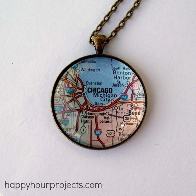 Turn a map of your favorite place into a necklace.