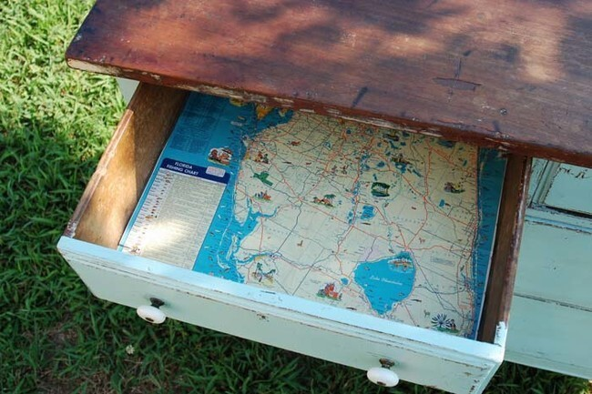 Line the insides of your dresser drawers with maps.