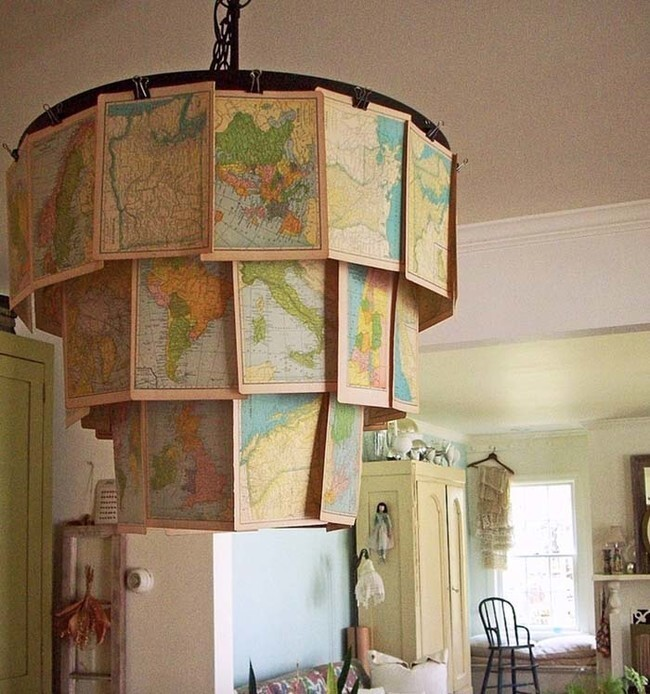 Use binder clips and an embroidery hoop to make a cool chandelier.