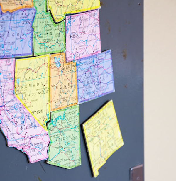 Turn a map of the United States into a fun magnet puzzle.
