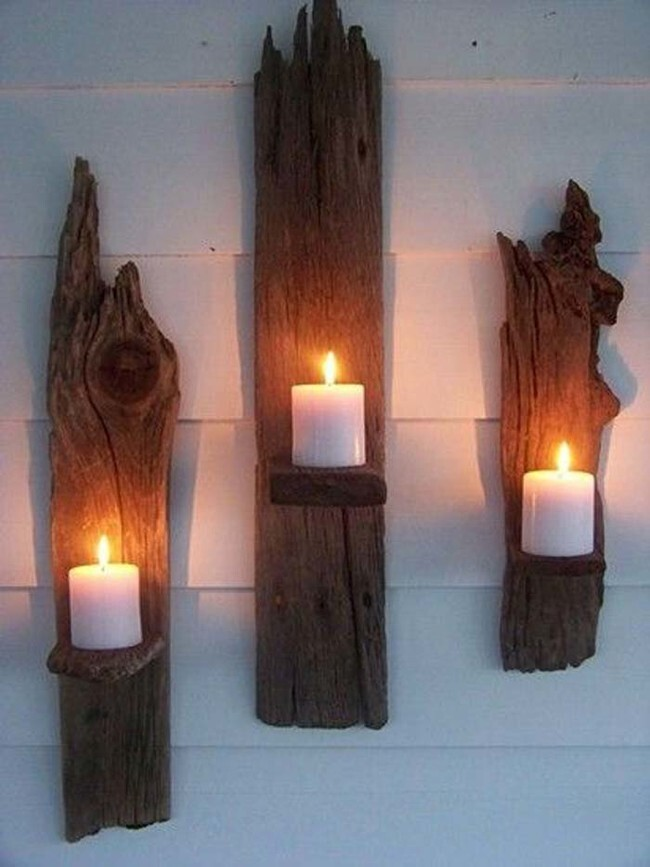 Make drift wood into hanging votive holders.