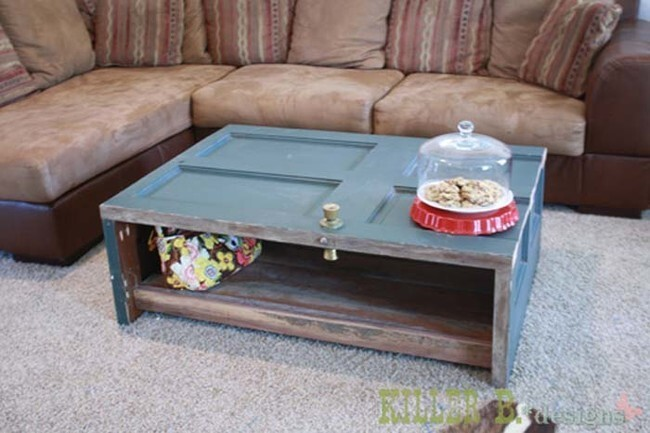 Speaking of doors, this old door was turned into a coffee table.