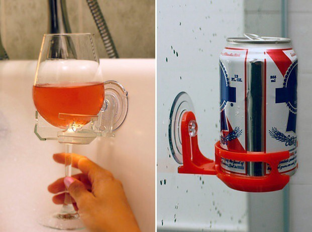 And the ultimate bathroom accessory: a cupholder for your bath wine or shower beer.