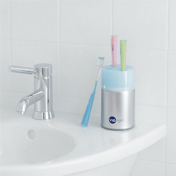 This toothbrush holder that will also sanitize your brushes between uses.
