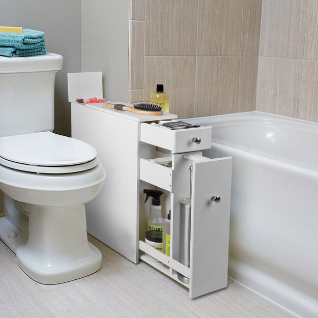This extra cabinet that fits awkwardly into that awkward space between your toilet and the tub