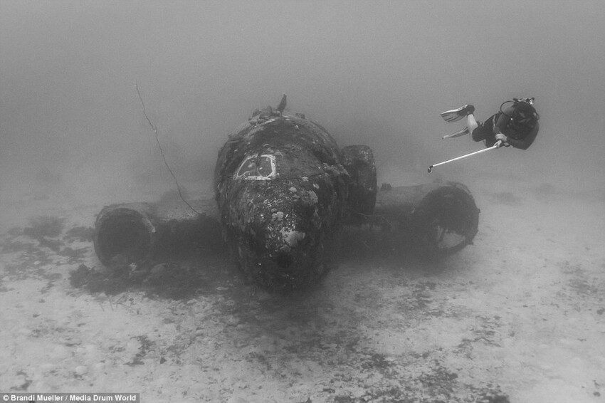 Scuba Diver Captures the Ghostly Underwater Graveyard of Lost Planes