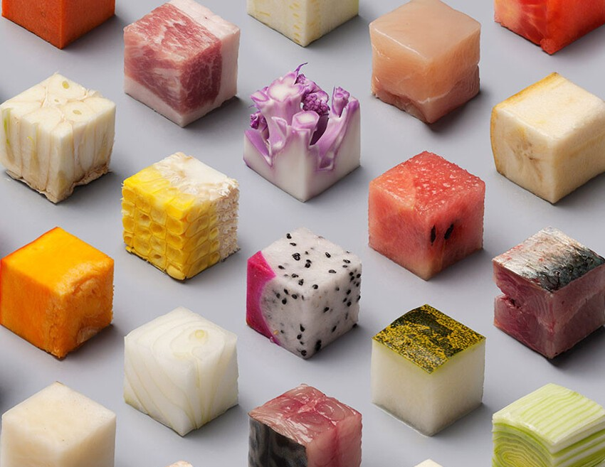 Artists Cut Raw Food Into Perfect Cubes To Make Perfectionists Hungry