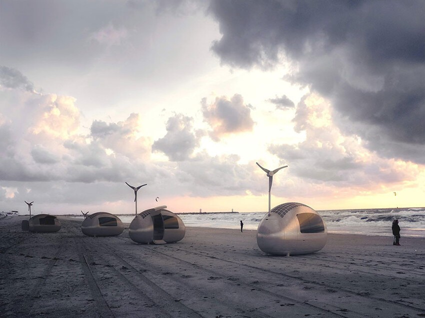 Ecocapsules fit in a sea-container or can be towed on a trailer