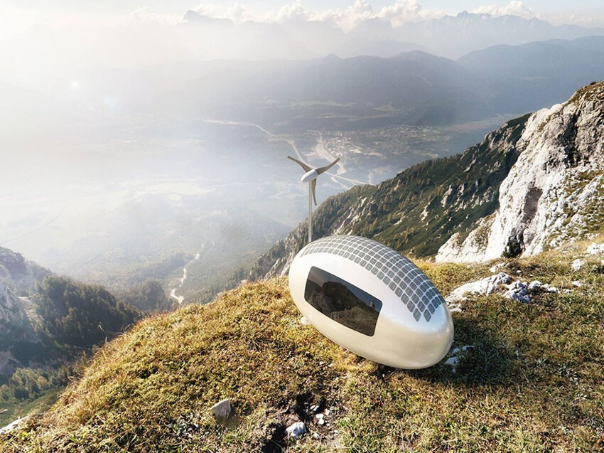 The Ecocapsule relies on wind and solar power, and collects rain water