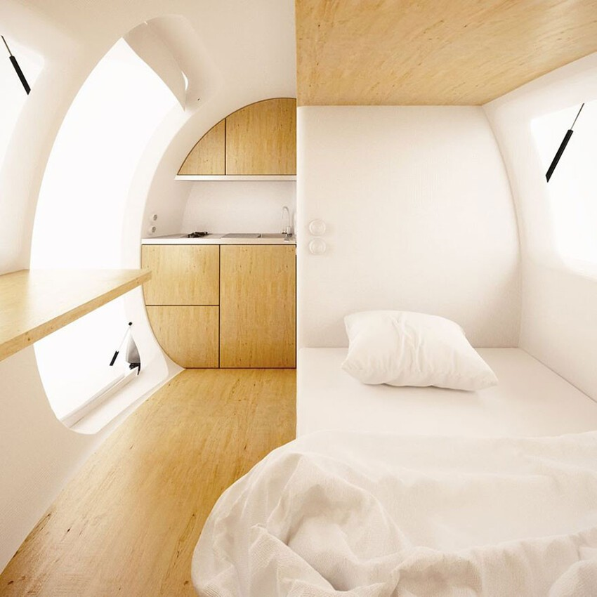 Its interior can comfortably sleep two, and provide 8 sq meters of living space