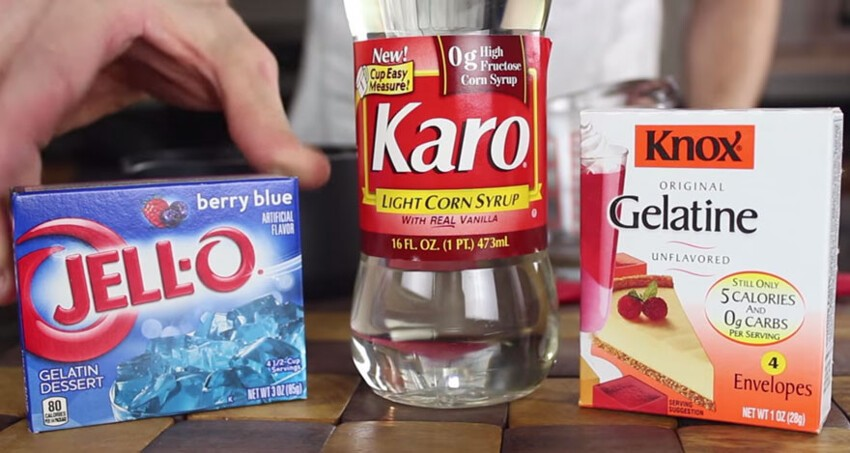 All you need is gelatin/Jell-O, water, and corn syrup…