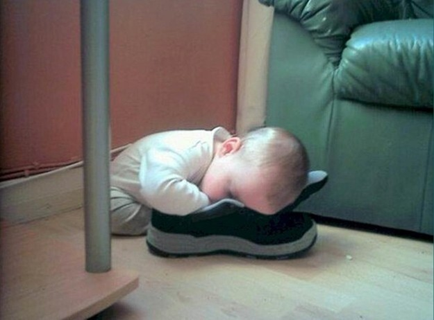 14. And they often fall asleep with their shoes on.
