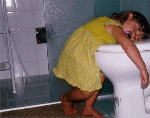 11. They often fall asleep on or near toilets.
