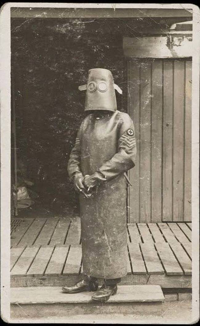 2. Protective gear for a radiology nurse, circa 1918.