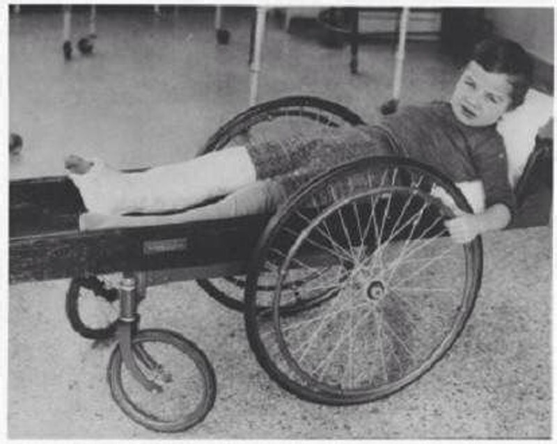 "11. Somewhere between a gurney and a wheelchair, an ""invalid rolling cart"" circa 1915."