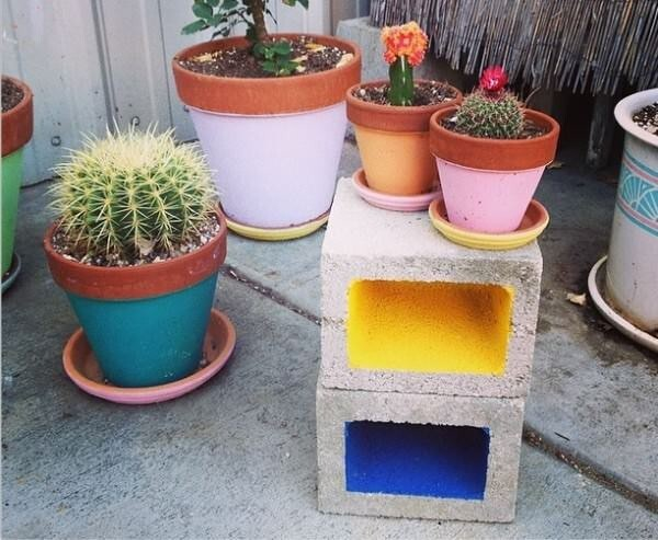 3. Paint the inside of the cinder blocks for a truly unique look.