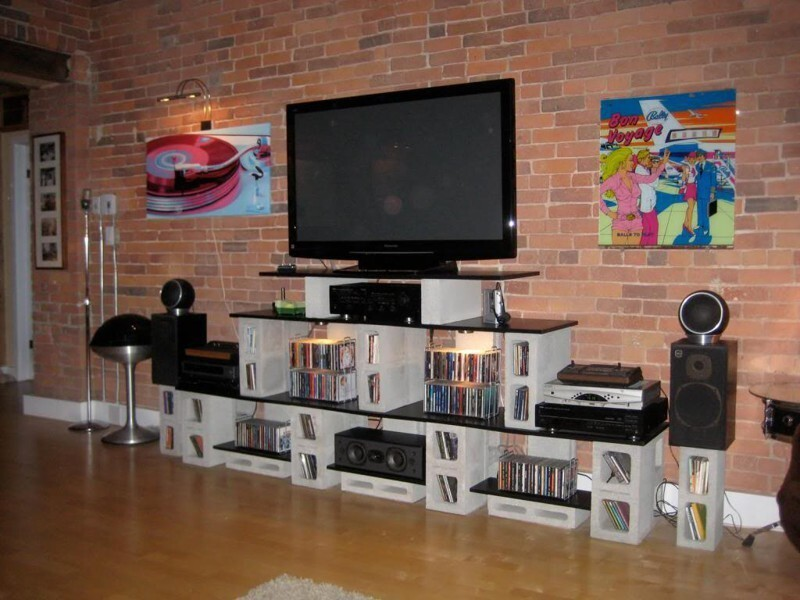 1. Use cinder blocks to create a home entertainment center.