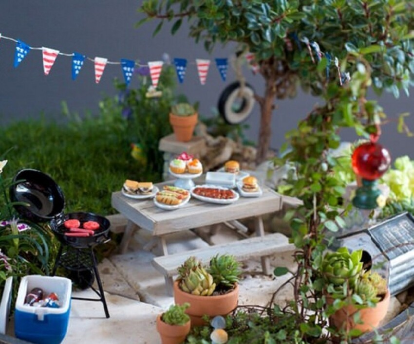 19. 4th of July BBQ Fairy Garden