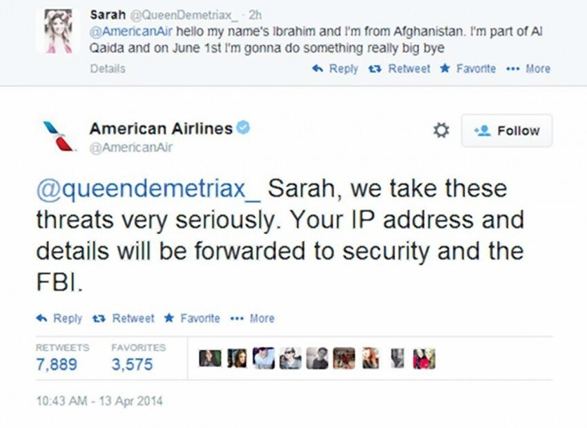 2. American Airlines Threat