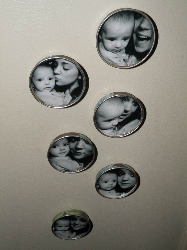 Use the lids you've discarded from other crafts for these precious photo magnets.